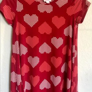 Lularoe girls red heart Scarlett dress. Size 10